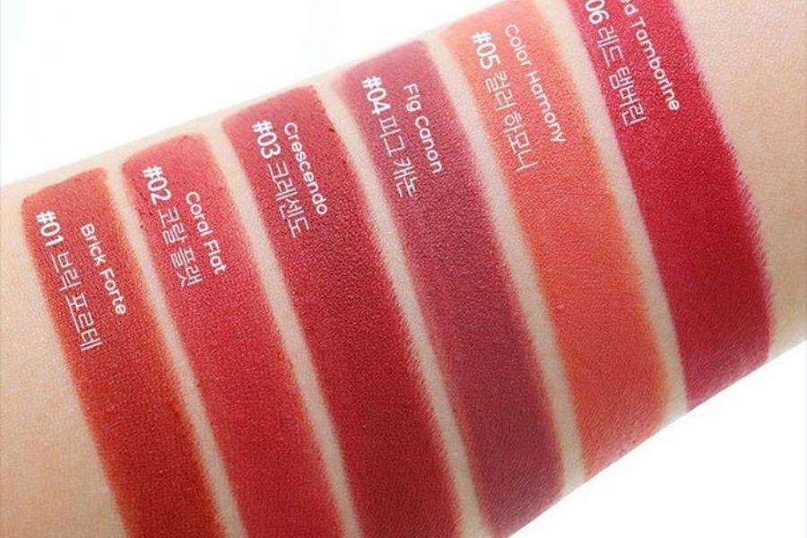 bảng màu son romand zero lipstick